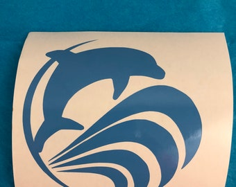 Dolphin Jumping Waves, Blue, Vinyl Decal, New, Gift
