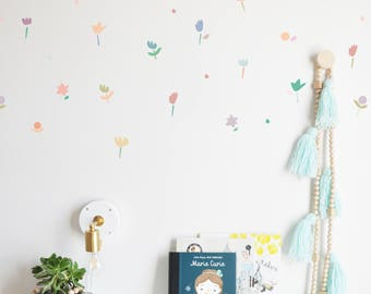 Wall Decal - Construction Paper Flowers - Wall Sticker - Room Decor