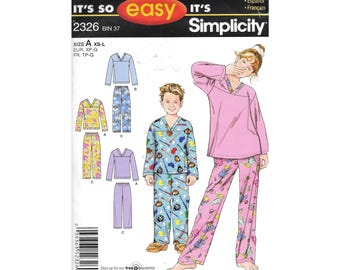 Boys Girls Pajamas XS to L Sewing Pattern Simplicity 2326