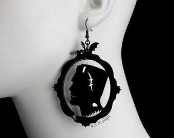 Frankenstein's Monster Earrings - Frankenstein Silhouette Earrings - Laser Cut Acrylic Earrings (C.A.B. Fayre Original Design)