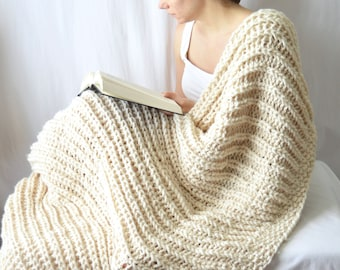 Chunky Wool Blend Knit Blanket, Acrylic Throw Blanket, Knit Afghan, Housewarming Gift