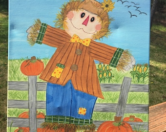 Fall Scarecrow Original Painting Acrylic on Stretched Canvas Signed by Artis