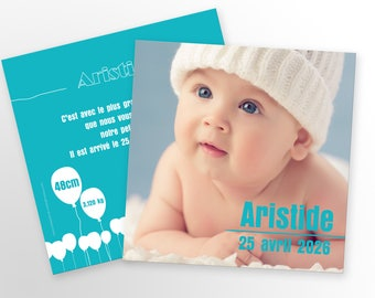 Baby boy announcement, mixed - to personalize - Aristide model