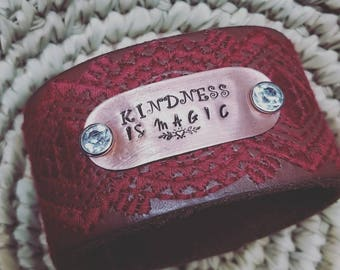 Kindness is Magic Upcycles genuine leather belt cuff hand stamped copper