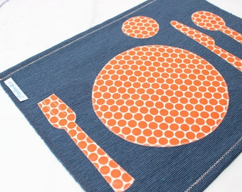Montessori Placemat, Back to School, Navy & Orange,Table Setting, School placemat, Kids Place Mat, Montessori Practical Life, Place Setting