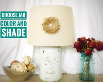 Mason Jar Lamp, Bedside Lamp, Hand Painted Lamp, Glass Lamp, Rustic Lighting, Glass Table Lamp, Farmhouse Lighting, Shabby Chic Lamp, Lamp
