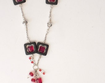 Handmade Swarovski Crystal Necklace -  Silver Chain with Beaded Frames
