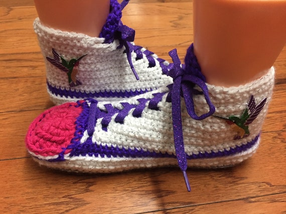 Crocheted Womens 8 316 hummingbird slippers sneakers crochet hummingbird 10 crochet tennis shoe shoes hummingbird sneaker house slippers OrfqOxw6a