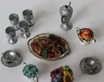 vintage miniature food cups coffee pot turkey platter dollhouse size 1950s vintage miniature tableware formal dinner turkey dinner