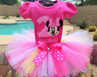 Personalized Pink shirt  Minnie Mouse tutu outfit, Birthday tutu.