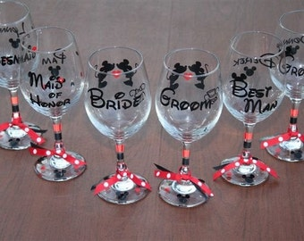 Disney Bridal Glasses - Disney Theme Wedding, Disney Bridal Party Gifts, Disney Wedding Gifts