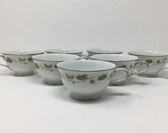 Tea Cup Lot, 7 Noritake Vineyard Cups, Noritake Pattern 6449, Noritake Tea Cups, Vintage 1960s