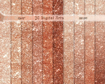 Rose Gold and Rose Gold Ombre Sparkle Glitter Digital Paper pack