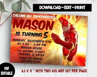 Flash Editable, Flash PDF Editable, Flash Instant Download, Flash Invitations, Flash Editable Template, Flash Printables, Flash Template