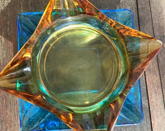 Amber and Blue Glass - Mid Century - Square 15cm - Ash Trays - Free Shipping