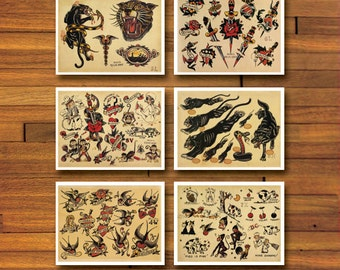 Sailor Jerry Old School 6 Page Tattoo Flash Set