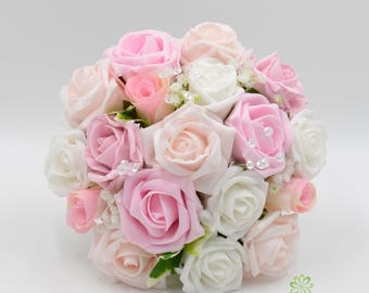 Pink wedding bouquet etsy artificial wedding flowers baby pink antique pink blush pink white rose bridesmaids bouquet posy mightylinksfo