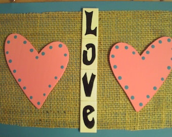 Love Hearts Wall Hanging Sign Plaque Pink Turquoise