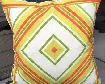 Outdoor Pillow Cover 20 x 20 inch Pillow Cover Green White Pillow Cover Green Red Stripe Pillow Cover Green Outside Pillow Outdoor Decor