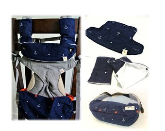 Gift for new mom-Baby carrier storage cover,drool pads, bib for Ergo,Tula,Beco,Boba,Onya-Navy Anchor (flannel)/orange anchor on reverse side