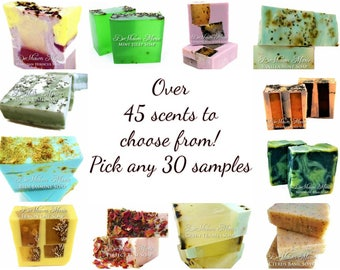 30 Soap Samples, soap sampler, soap sample gift set, soap loaf samples, vegan soap samples