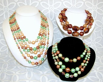 Lot Vintage Two 3 & 5 Multi Strand Beaded Necklace Ready to Wear Green Bronze Brown Cream Halloween Costume Jewelry Stage Theater Dress Up