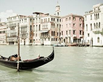 Venice Photography, Pink Black Wall Art, Venice Italy Art Print, Black Boat Photograph, Pastel Decor - Bella Venezia