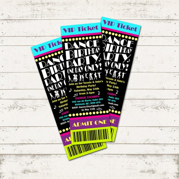 Dance Party Birthday Invitation Ticket Invitation Musical