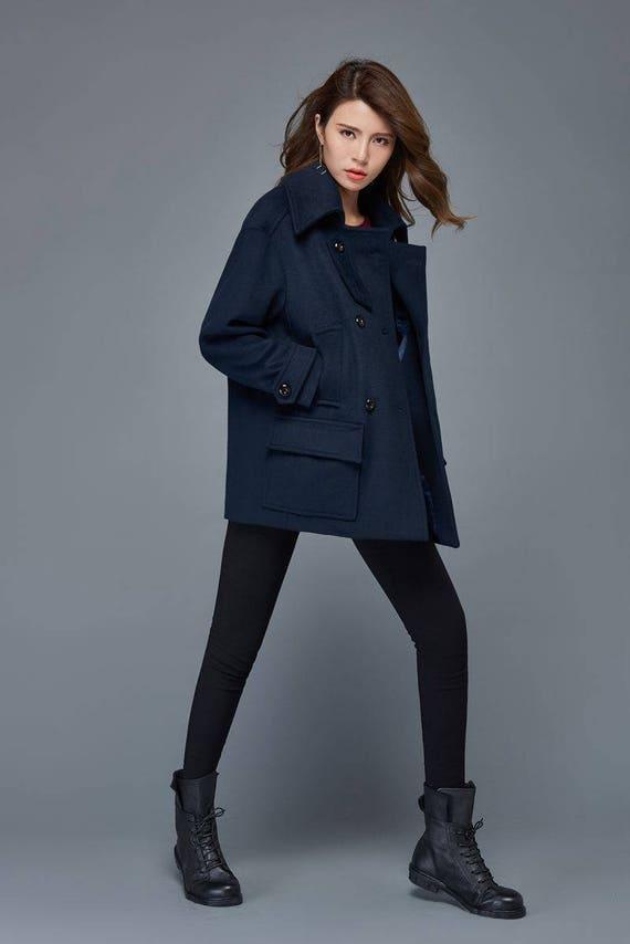 Very Blue coat Short coat wool coat winter jacket women short ZQ44