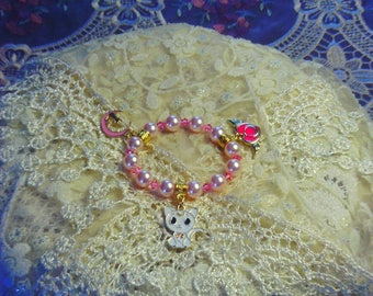 Me..ow Girls Stretch Kitty Bracelet Featuring Swarovski Pearls & Crystals