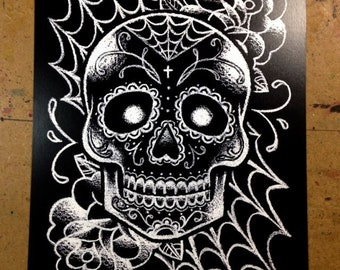 Sugar Skull Tattoo Art Signed Print - Black and White Day of the Dead Sugar Skull Tattoo Flash Wall Art Drawing 5x7, 8x10, or Apprx 11x14 In