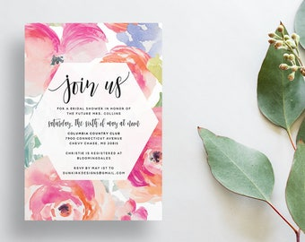 Watercolor Floral Shower Invites / Tropical Floral / Calligraphy / Semi-Custom Party Bridal Shower Invites / Printed Invitations