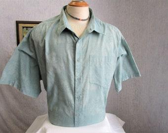 "80s 3XL 19"" Tall Men's Big Collar Poly Cotton S/S Shirt Trading Company Aqua Green Blue"