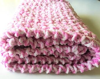 Pink Baby Blanket, Crochet Baby Blanket, Newborn Blanket, Crochet Blanket, Pink White Blanket Baby Girl Blanket, Stroller Blanket Photo Prop