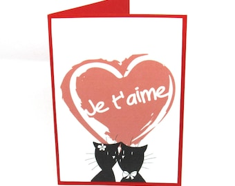 Map double red and white Valentine's day, couple of cats and heart I love you