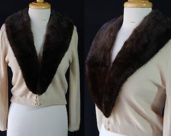 50s Cashmere Sweater, Mink Collar, Cynles, Mid Century Fashion, Cardigan