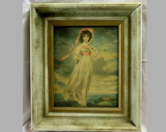 Vintage Thomas Lawrence Picture, Pinkie, 1930's, Wood Frame