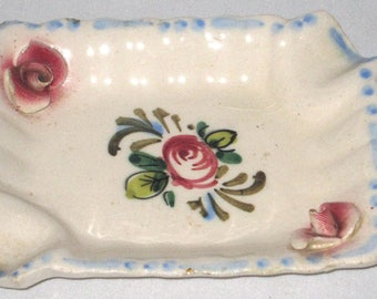 Mid-Century - Vintage Italian Floral - Small Candy Dish, Ashtray, Ring Holder, Trinket Dish - Paul's Italy