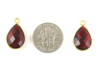 Bezel Gemstone Pendant - Small Teardrop Bezel Charm - Gold Plated Bezel Frame - Garnet Quartz - Gem Pendant - 14mm (1pc) SKU: 201107-GAR