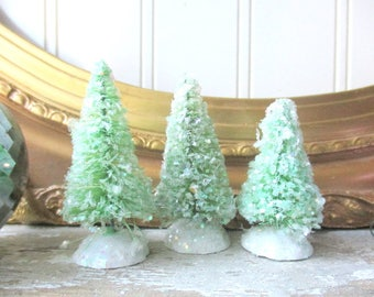 3 small green bottle brush trees mica glittered Christmas tree Cottage Chic Farmhouse decor vintage style putz village trees
