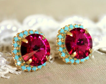 Pink Fuchsia Earrings, Swarovski Crystal Pink Fuchsia Turquoise Gold or Silver Stud Earrings,Pink Turquoise Swarovski Bridesmaids Earrings