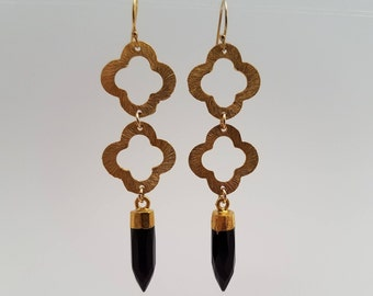 Gold Clover and Black Dangle Earrings