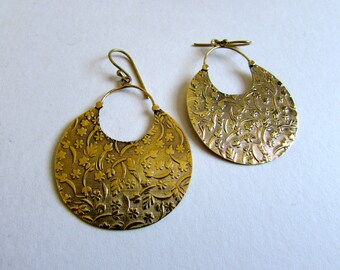 Large Flat Hoop Earrings with round clasp handmade, Circle shape, Brass, Flower Earrings , Circle Earrings, Gift boxed,Free UK post BG10