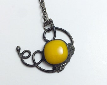 Yellow Floating Away Pendant   Fused Glass   Wirework   Stained Glass   Eclectic