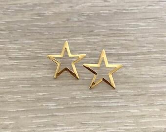 Star Post Earring, Gold Earring, Gold Studs, Star Earring