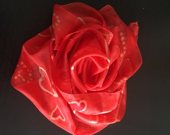Hand Painted Silk Scarf - Heart