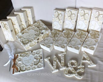 Luxury Bridal Wedding Set | Guest-book, Wooden Letters, Bridesmaid Gifts | Cream Ivory Gold | Indian Henna Mehndi Mendhi | Personalised