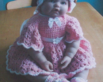 Baby girl    crochet pattern for dress hat and shoes,