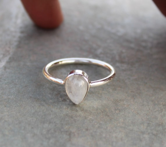 Rainbow Moonstone Delicate Ring   Handmade 925 Sterling Silver Ring   June Birthstone Ring   Natural Rainbow Moonstone Pear Cab Jewelry by Etsy