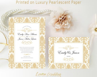 Gold damask wedding invitations | Classy wedding cards and RSVP postcards | Cheap wedding invitations